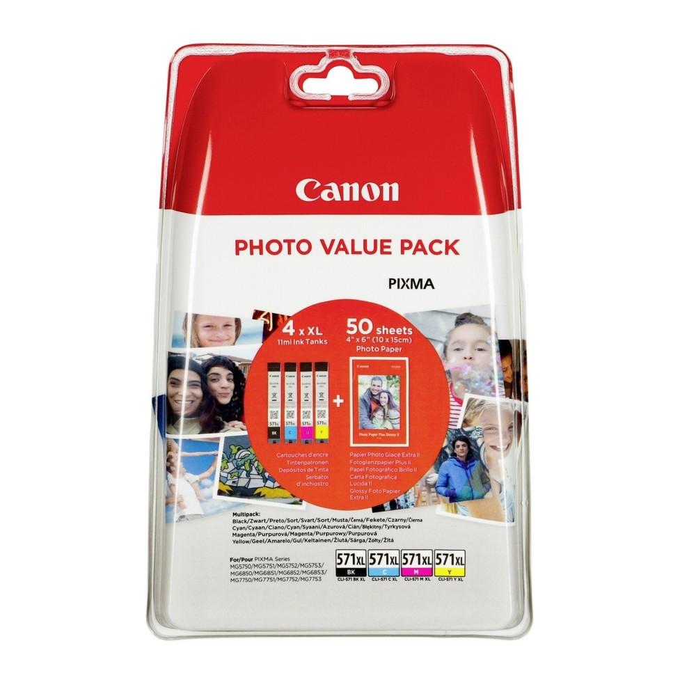 Canon CL571XL Tintapatron 4 db-os szett - Ink Cartridge Four-Pack 0K fekete, cián, magenta, sárga, eredeti
