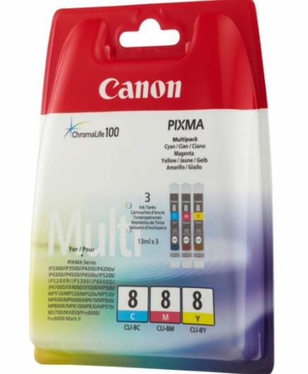 Canon CLI8 Tintapatron 3 db-os szett - Ink Cartridge Tri-Pack 0K cián, magenta, sárga, eredeti