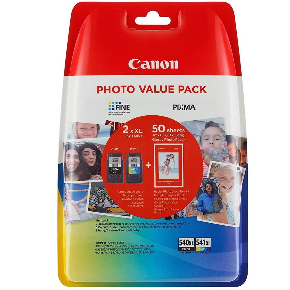 Canon PG540XL+CL541XL+10X15 GP501 Tintapatron 2 db-os szett - Ink Cartridge Duo-Pack fekete, színes, eredeti