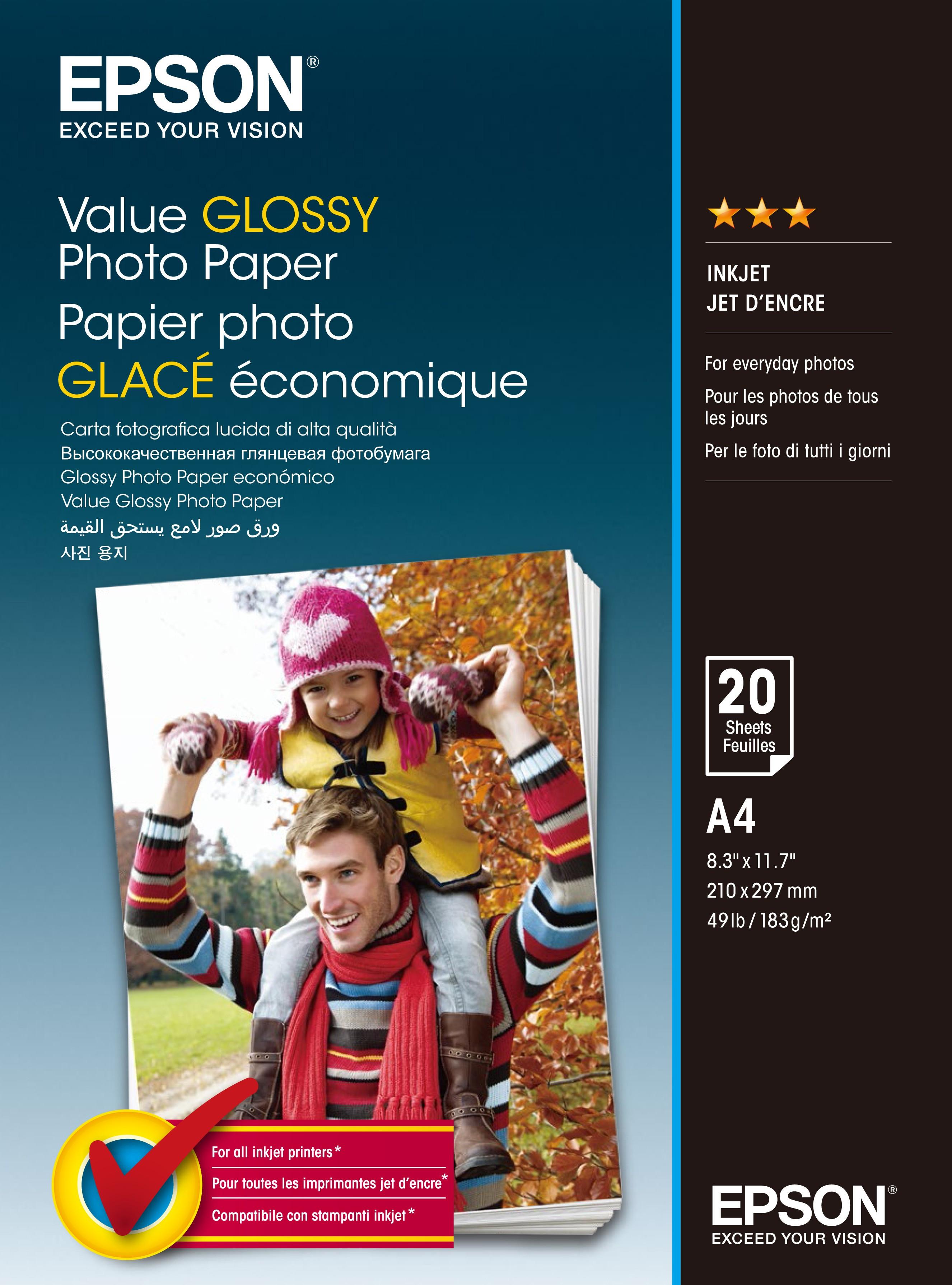 Epson A/4 Gazdaságos Fényes Fotópapír 20 lapos 183g
