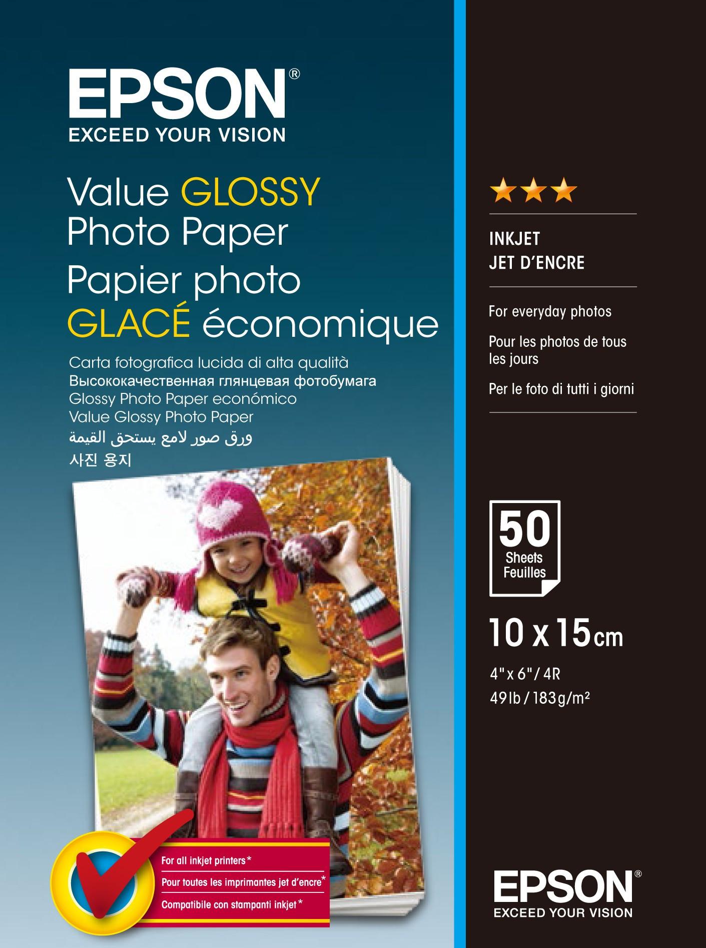 Epson 10x15 Gazdaságos Fényes Papír 50Lapos 183g