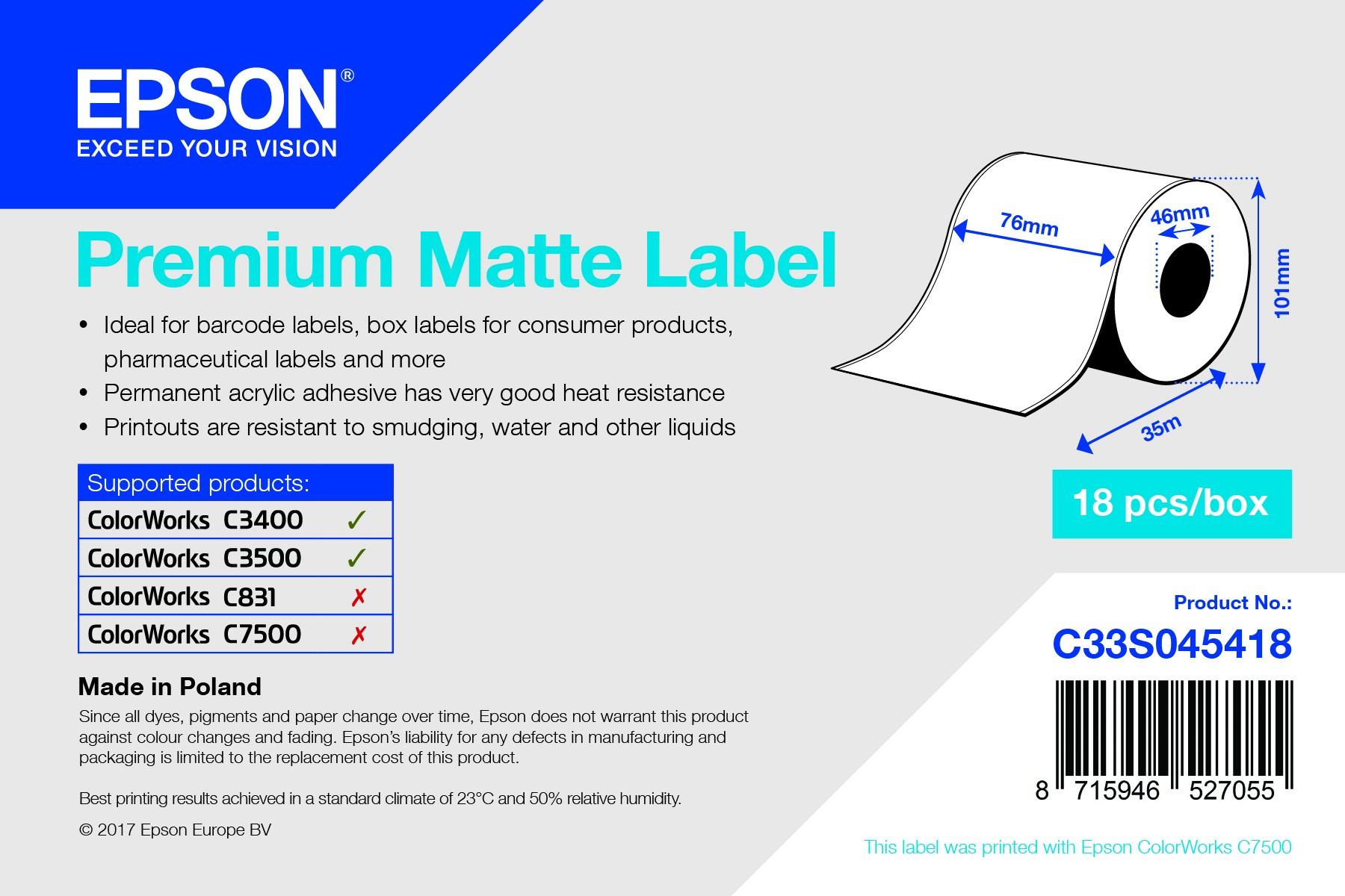 Epson 76mm*35m matt inkjet címke