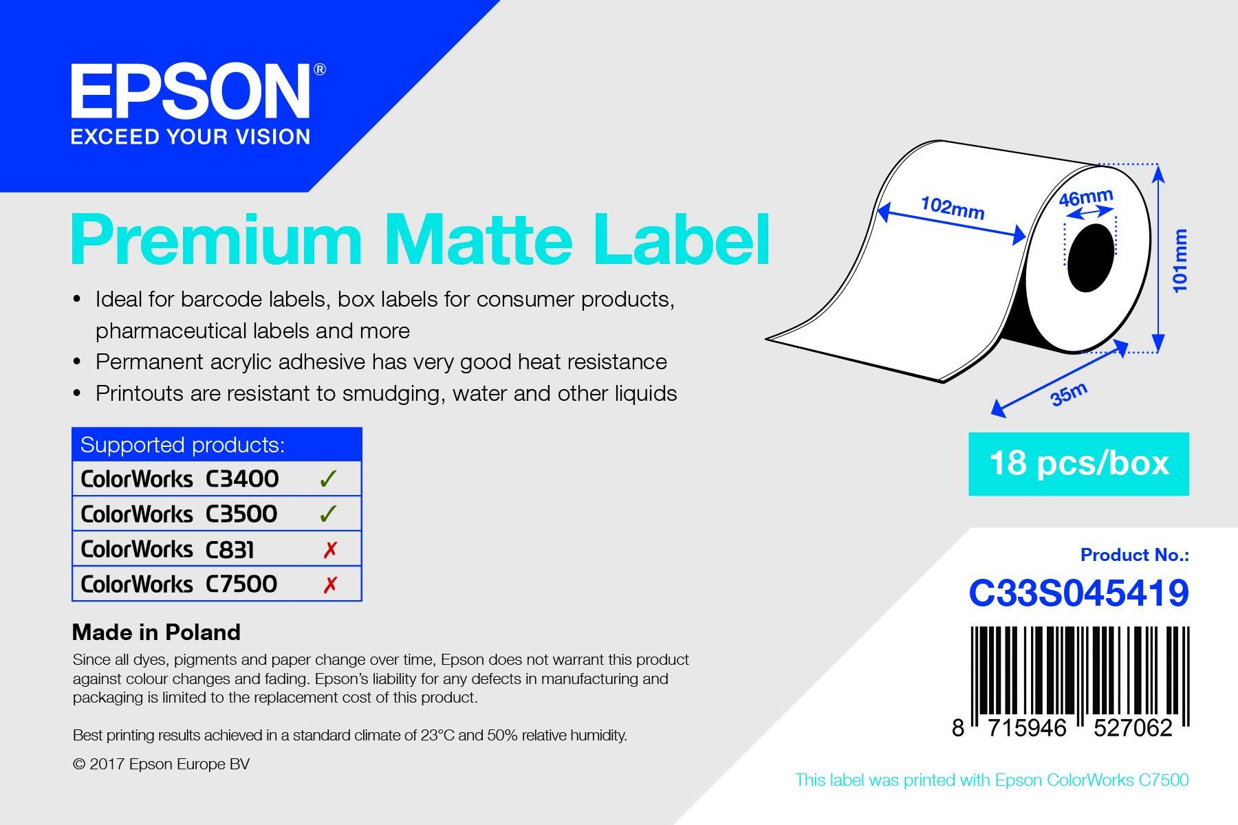 Epson 102mm*35m matt tekercs címke