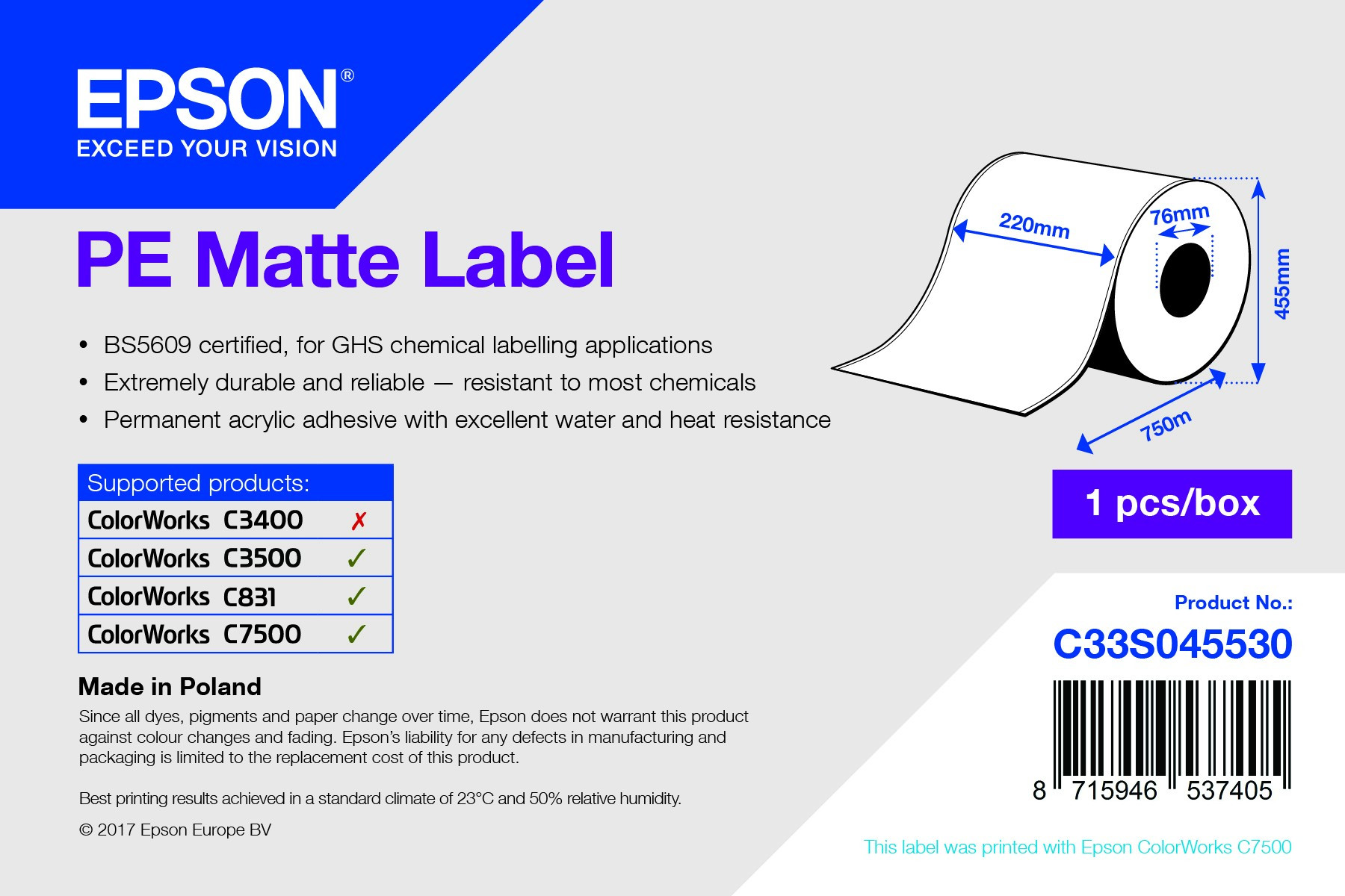 Epson 220mm*750m matt címke