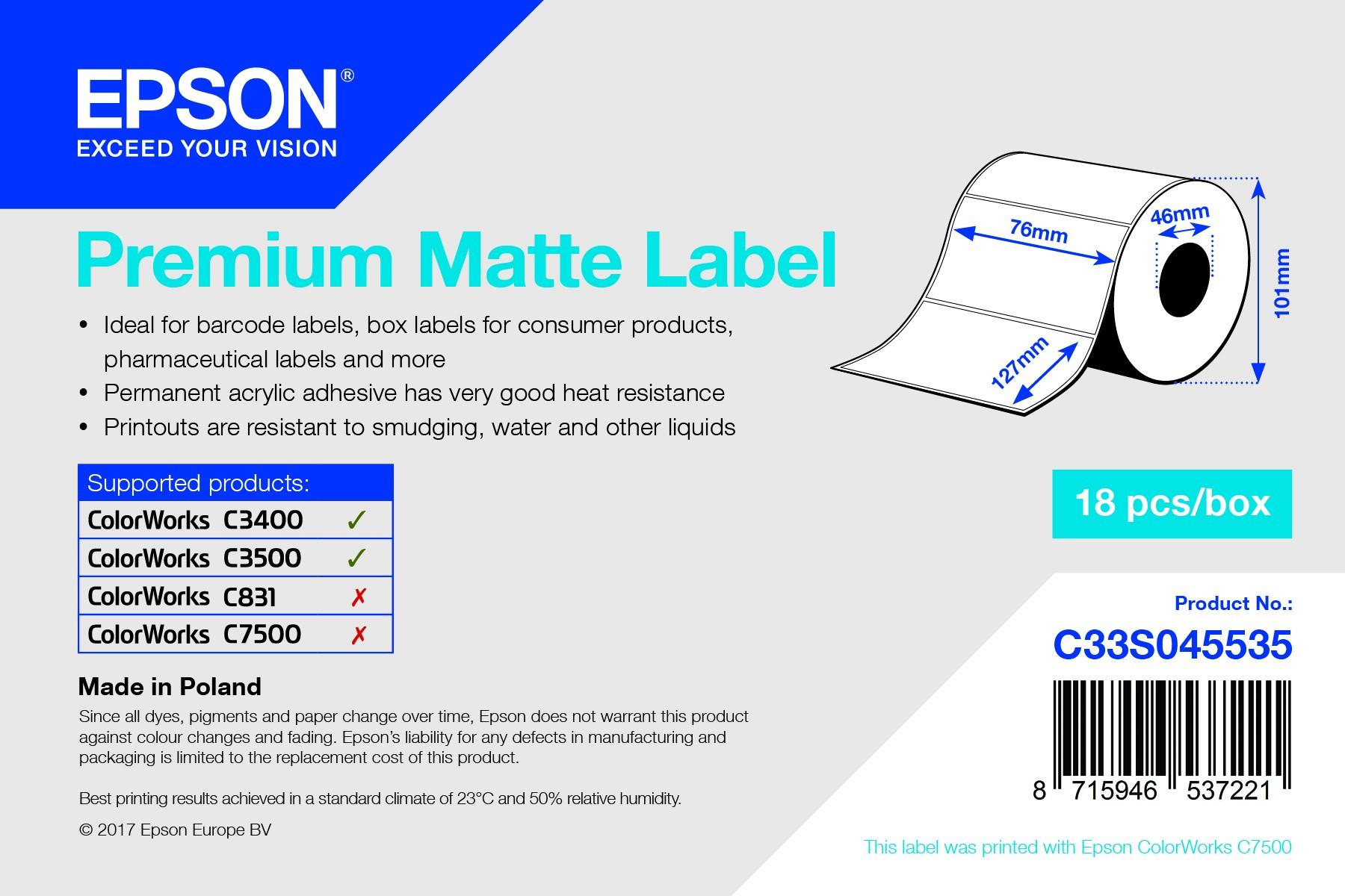 Epson 76mm*127mm, 265 matt inkjet címke