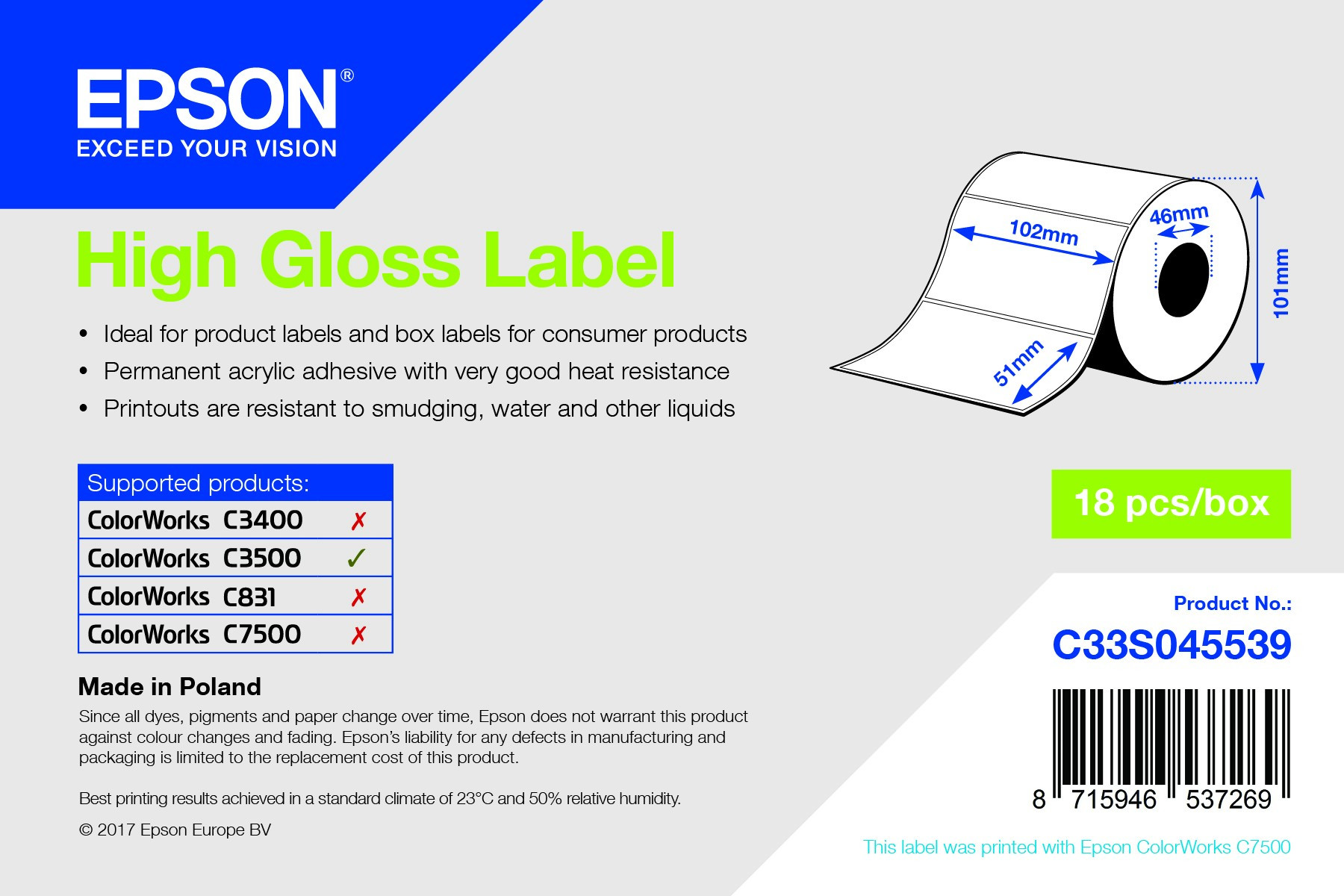 Epson 102mm*51mm, 610 inkjet címke