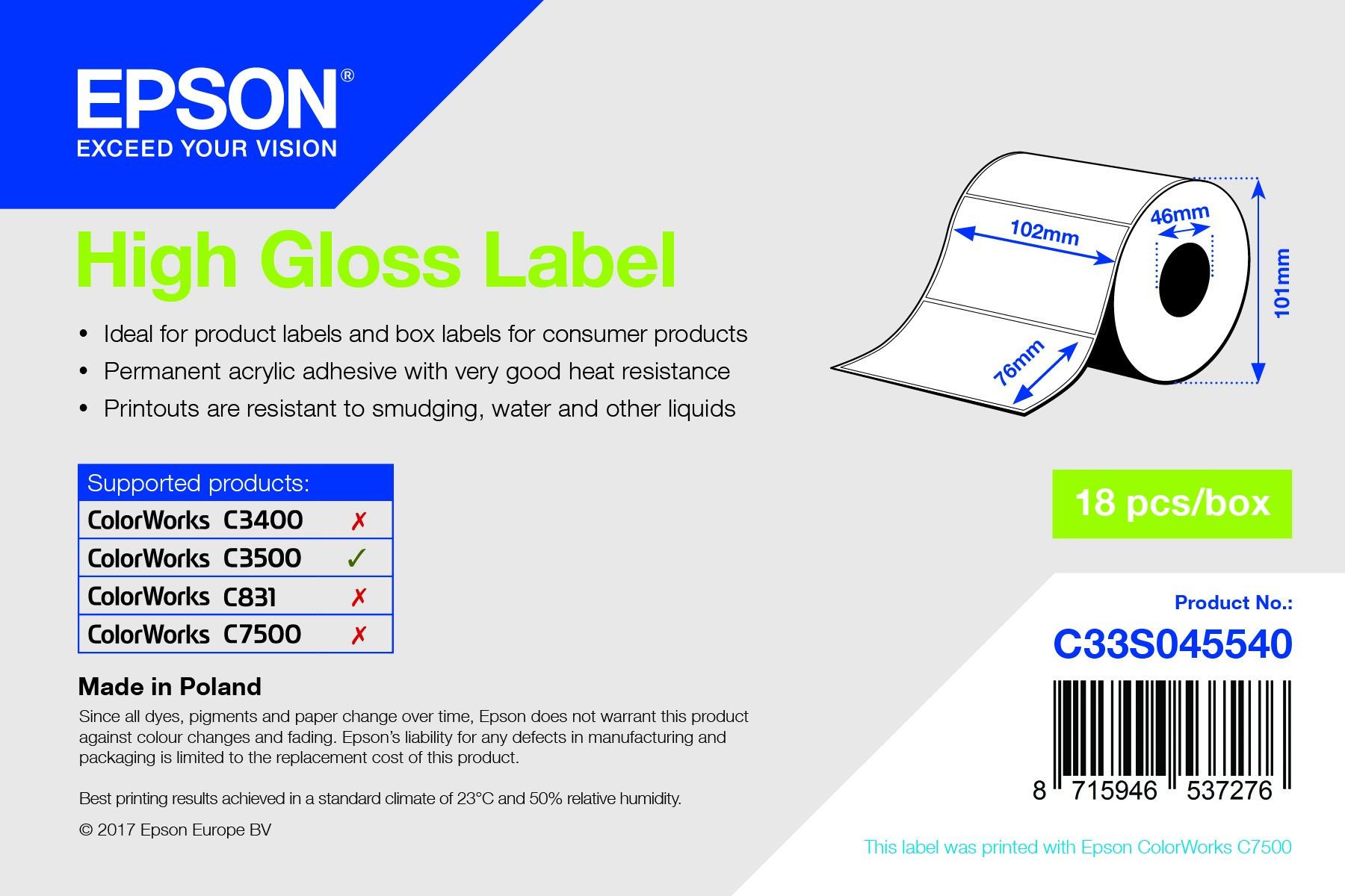 Epson 102mm x 76mm, 415 magasfényű címke