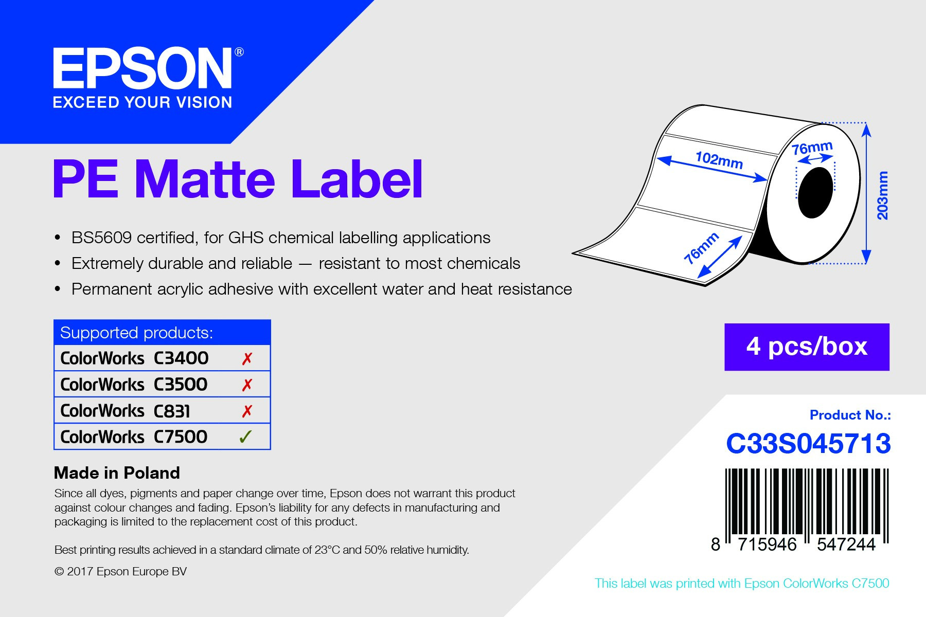 Epson 102mm x 76mm, 1570 matt címke