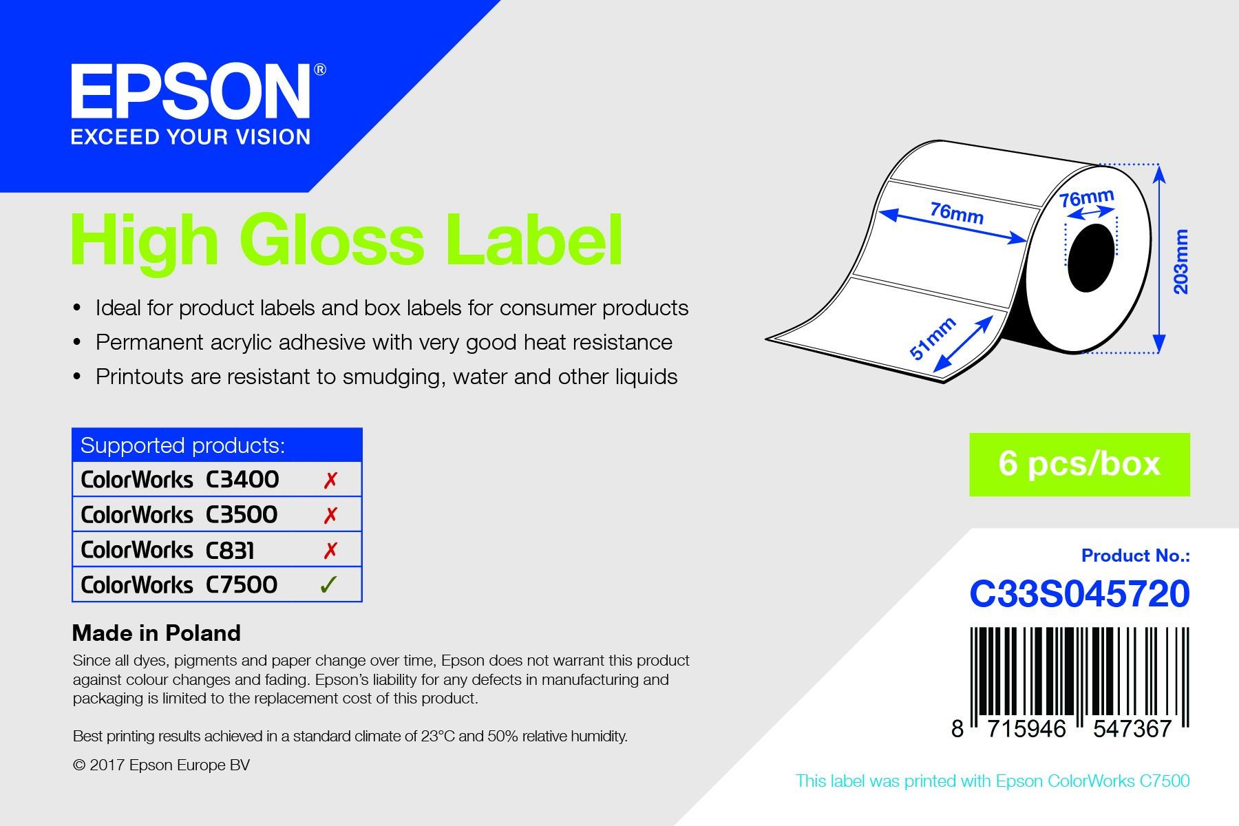 Epson 76mm x 51mm, 2310 magasfényű címke