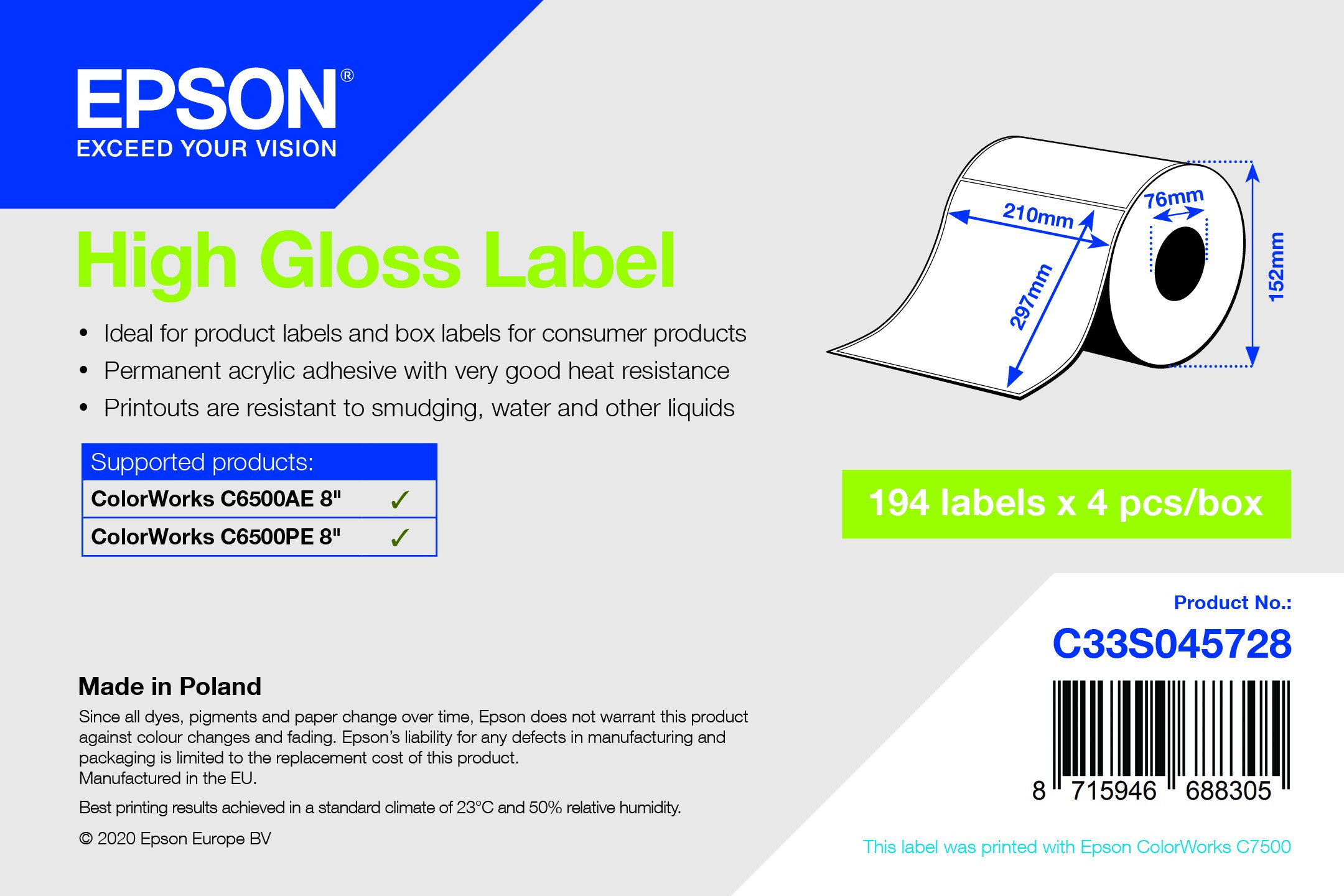 Epson 210mm x 297mm 194 magasfényű címke