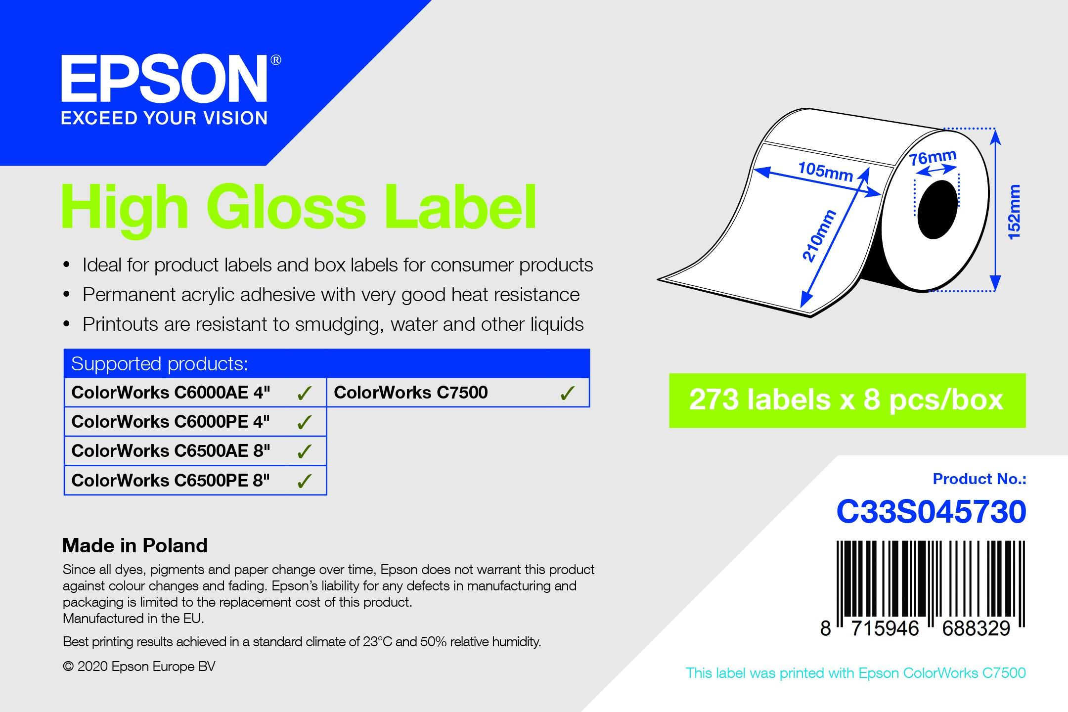 Epson 105mm x 210mm 273 magasfényű címke