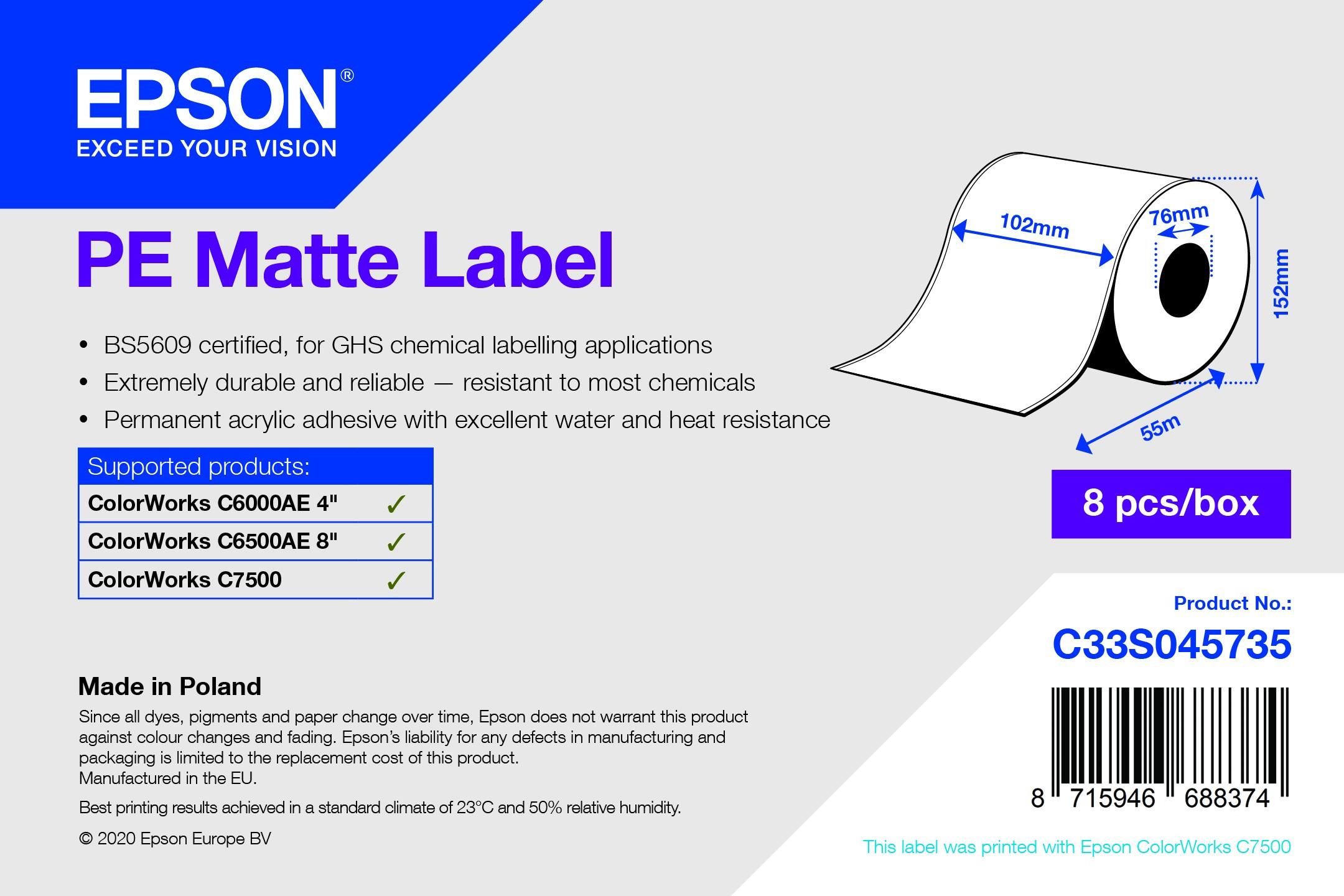 Epson 102mm X 55m matt címke