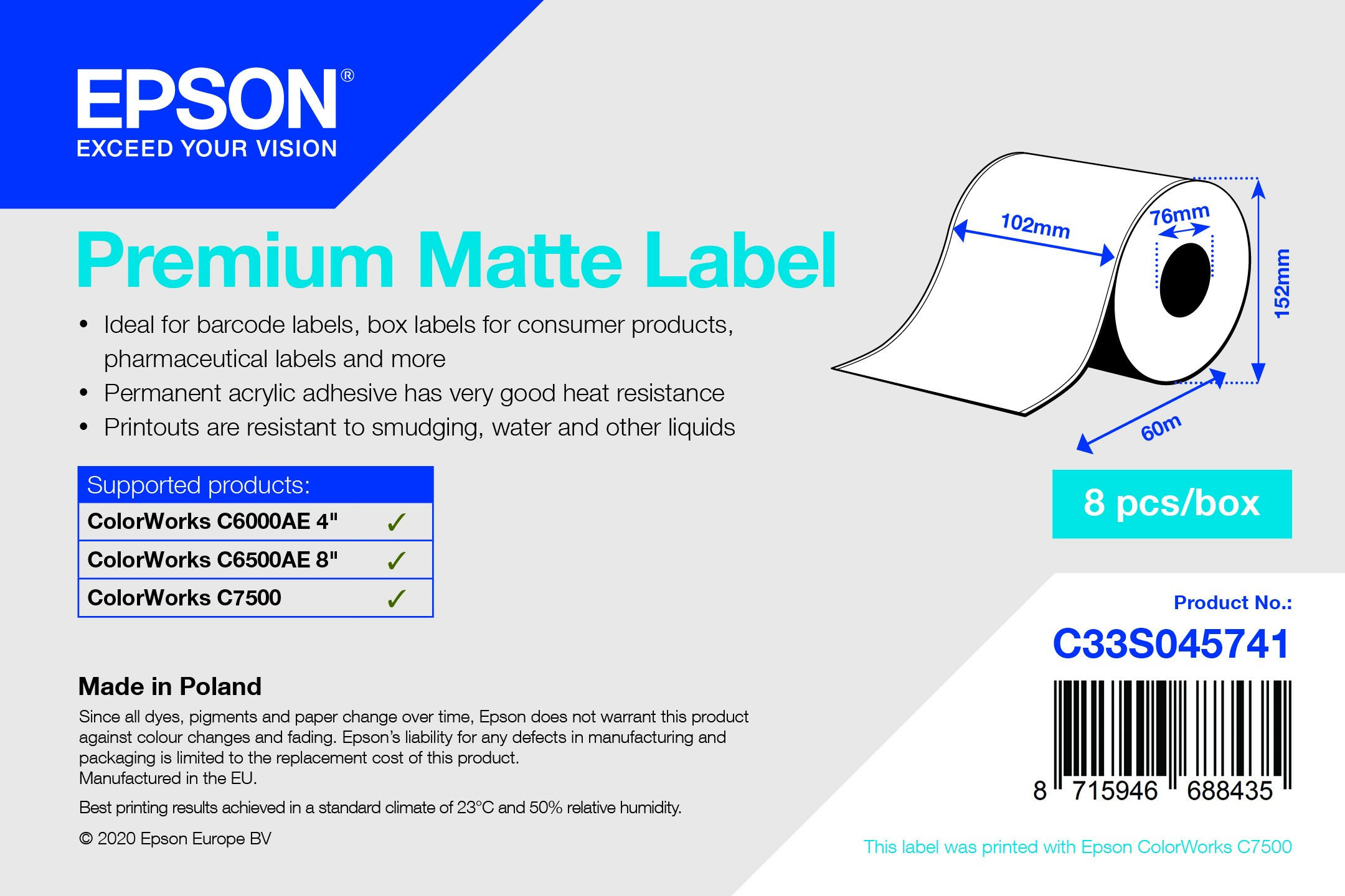 Epson 102mm X 60m matt címke