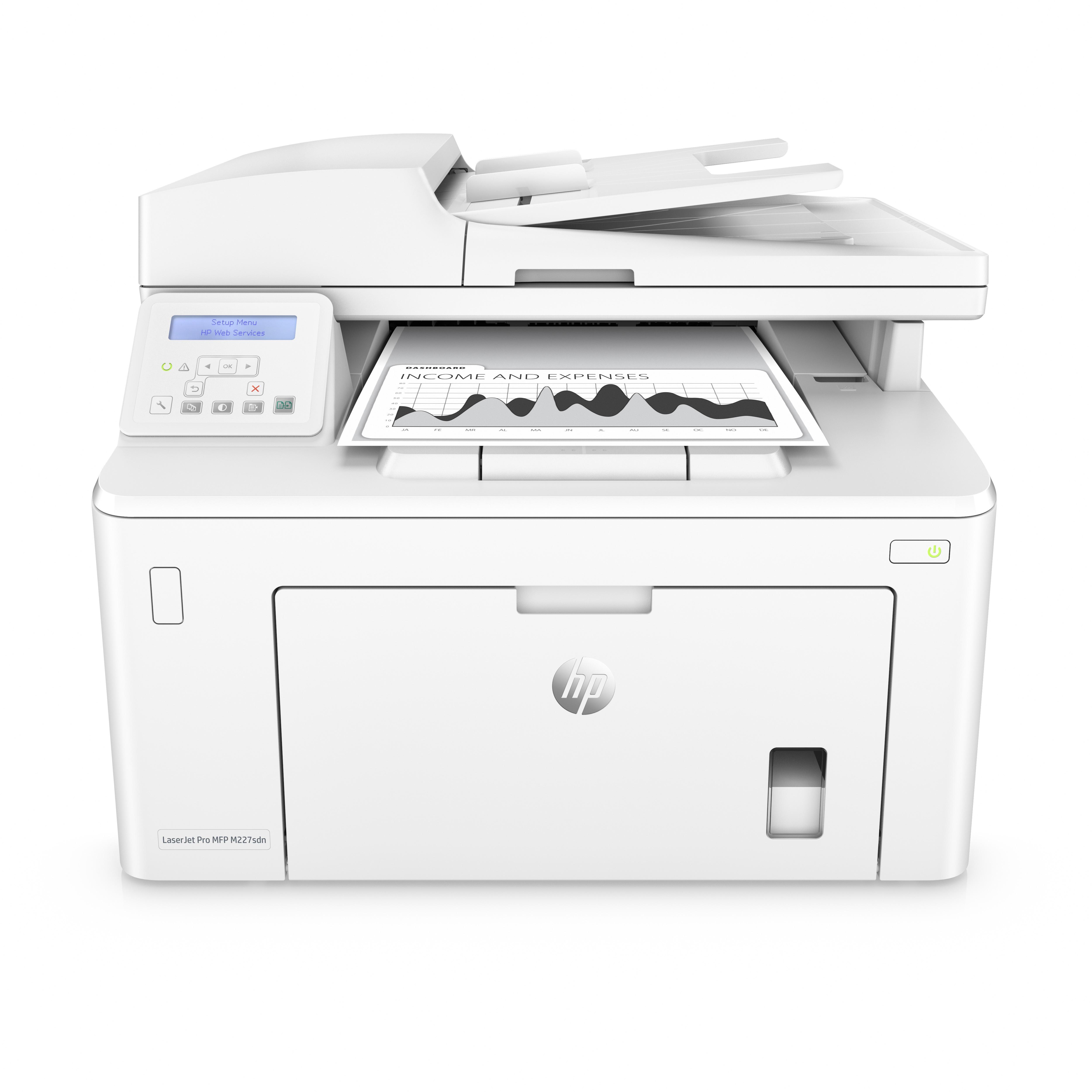 HP LaserJet Pro M227SDN A4, mono, lézer multifunkciós nyomtató hálózatos, duplex