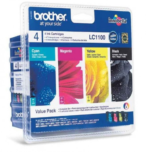 Brother LC1100VALBP Tintapatron 4 db-os szett - Ink Cartridge Four-Pack fekete, cián, magenta, sárga, eredeti