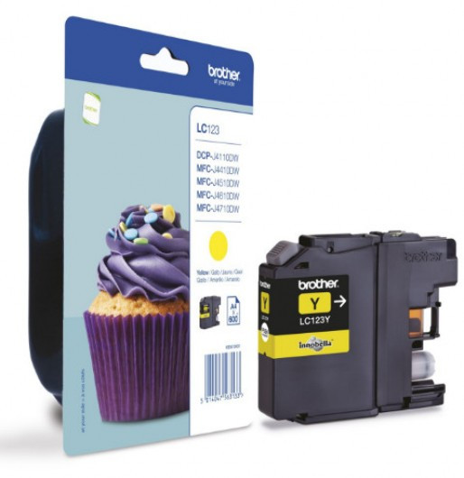 Brother LC123-Y Tintapatron - Ink Cartridge 0,6K sárga (Yellow), eredeti