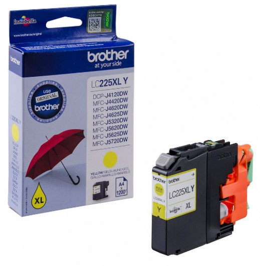 Brother LC225XL-Y Tintapatron - Ink Cartridge 1,2K sárga (Yellow), eredeti