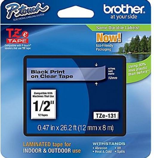 Brother TZe131 Festékszalag - ribbon átlátszó, fekete, eredeti