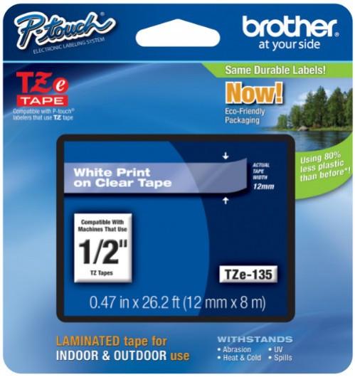 Brother TZE135 Festékszalag - ribbon átlátszó, fehér, eredeti