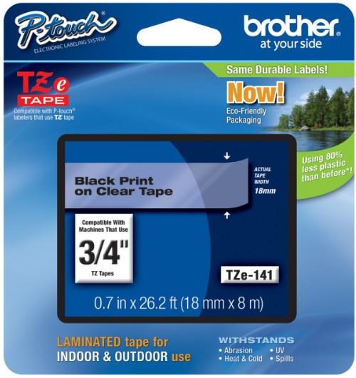 Brother TZe141 Festékszalag - ribbon átlátszó, fekete, eredeti