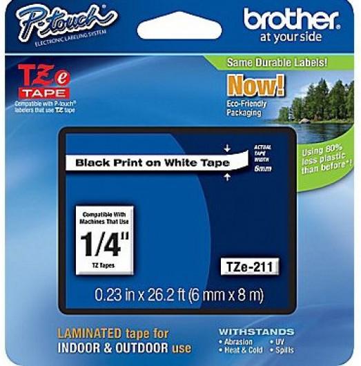 Brother TZe211 Festékszalag - ribbon fehér, fekete, eredeti
