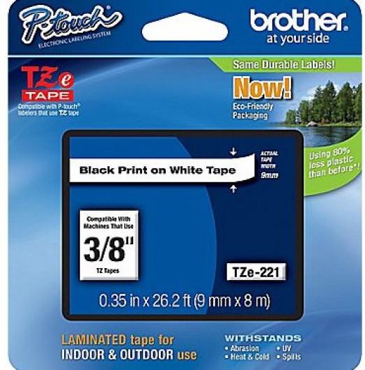 Brother TZe221 Festékszalag - ribbon fehér, fekete, eredeti