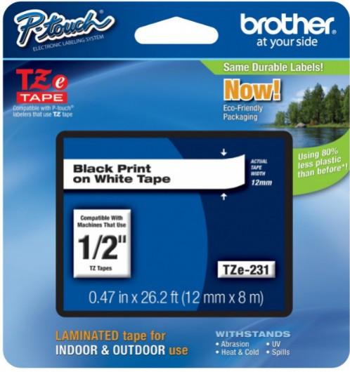 Brother TZE231 Festékszalag - ribbon fehér, fekete (white, black), eredeti