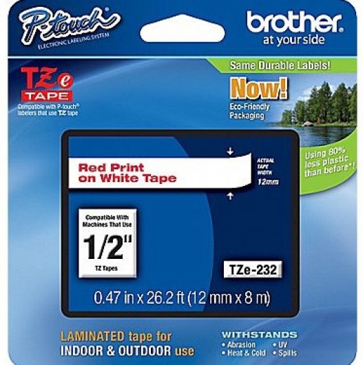 Brother TZe232 Festékszalag - ribbon fehér, piros, eredeti