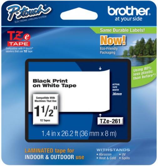 Brother TZe261 Festékszalag - ribbon fehér, fekete, eredeti