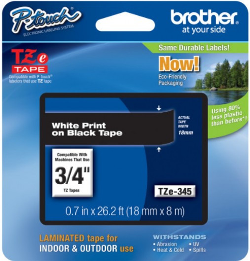 Brother TZE345 Festékszalag - ribbon fekete, fehér (black, white), eredeti
