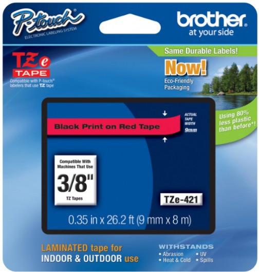 Brother TZe421 Festékszalag - ribbon piros, fekete, eredeti
