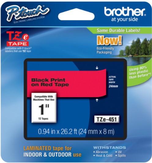 Brother TZe451 Festékszalag - ribbon piros, fekete, eredeti